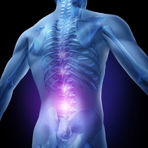 Lower back pain and human backache with an upper torso body skeleton showing the spine and vertebral column in glowing highlight as a medical health care concept for spinal surgery and therapy.