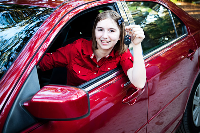 Teenage Driver in New Car